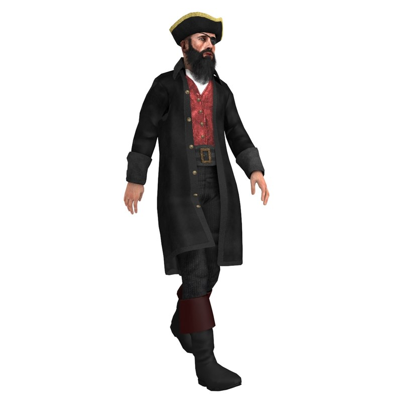3ds max rigged pirate captain 4