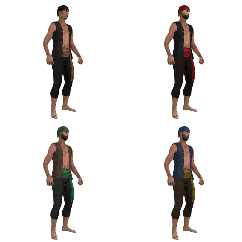 3d pack rigged pirate