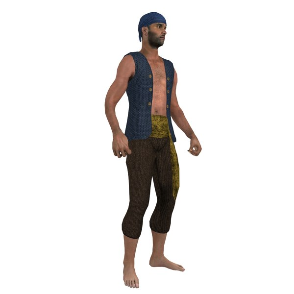 3d model rigged pirate