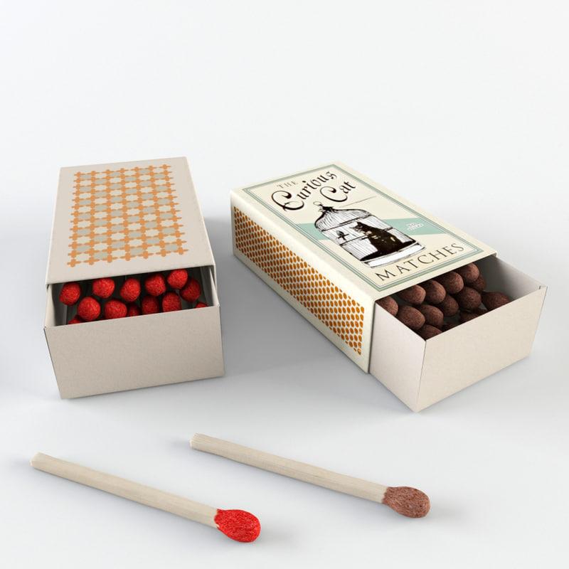 3d model matchstick matchbox match