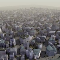 3d european city building street model