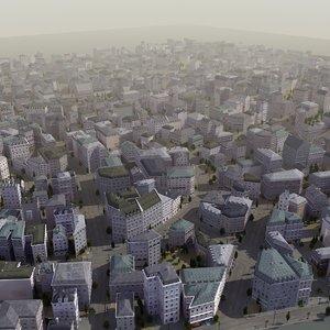 3d european city building street model