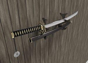 3d katana samurai sword
