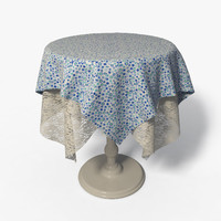 Round Side Table  + Fabric  & Lace - 001