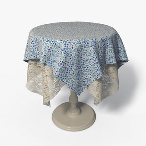 3d model table fabric lace -