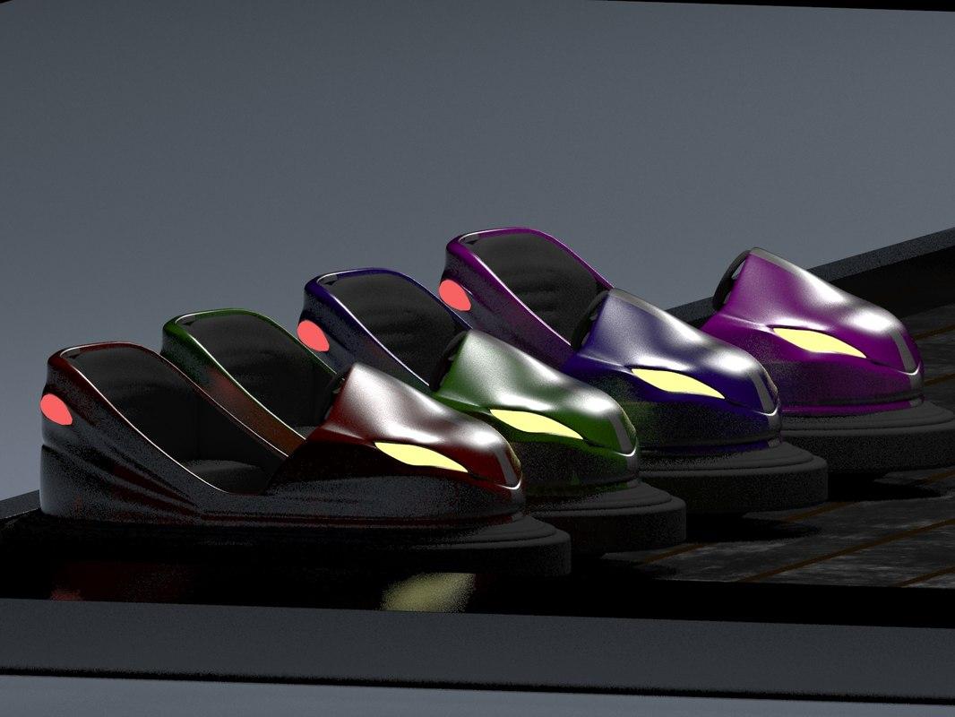 3d model indoor attraction bumper cars