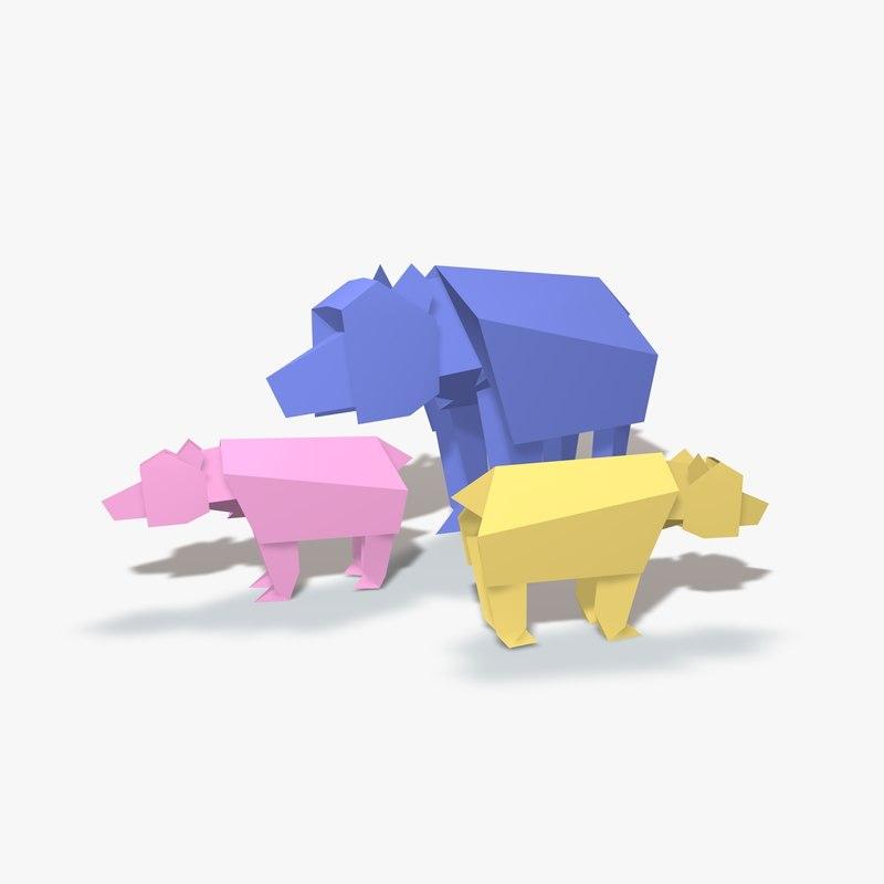 origami bear 3d fbx