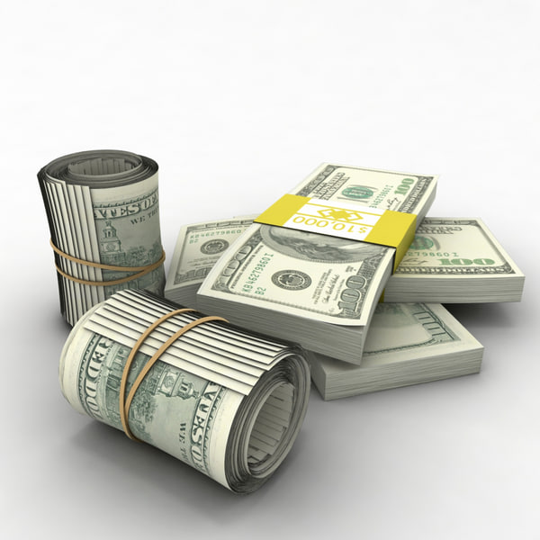 100 dollar bills 3d model