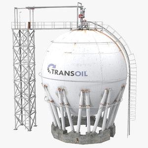 3ds oil storage tank modeled