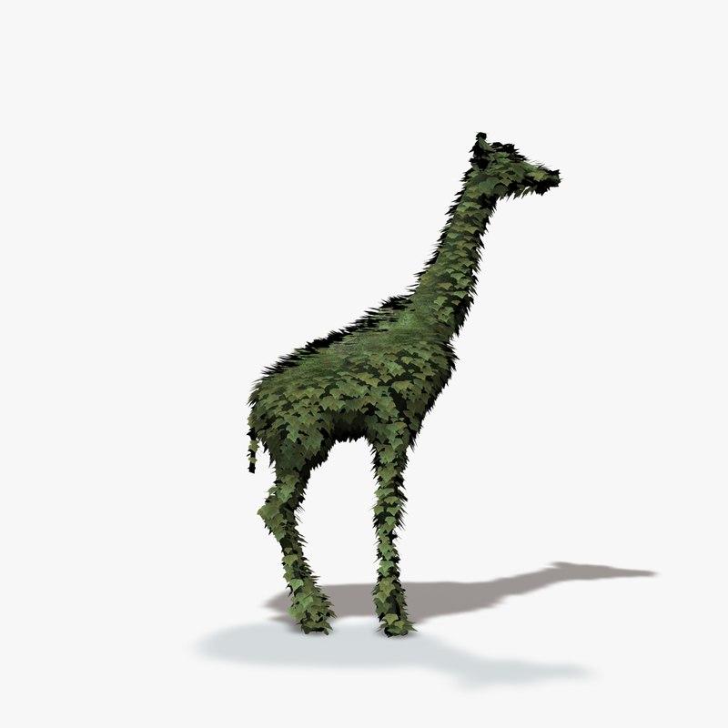 topiary giraffe 3d model