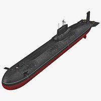 typhoon class submarine 3d max