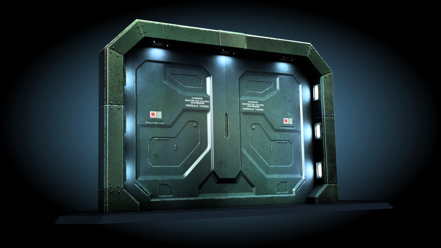 3ds max sci fi gate door