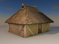 hipped roof block house 3d model