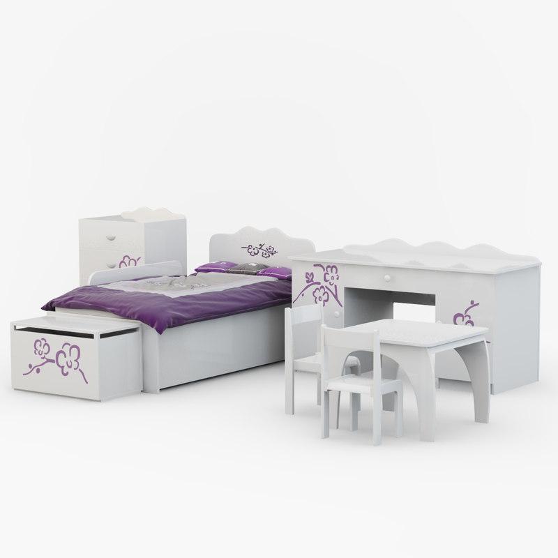 children s furniture orchid 3d model