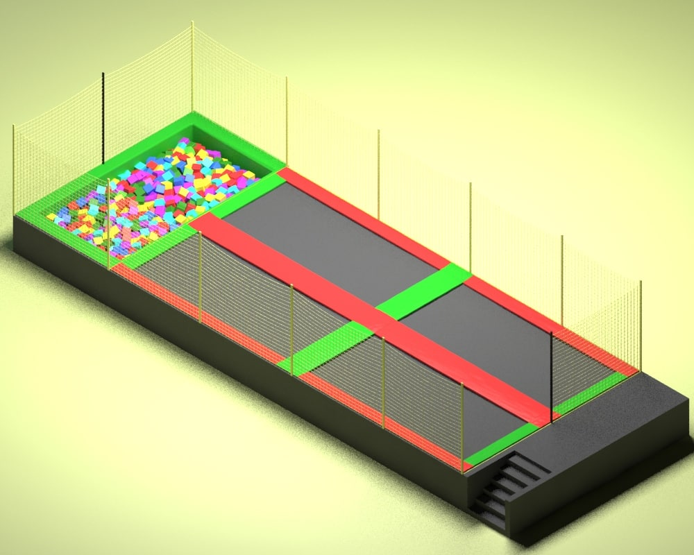 3d model attraction trampoline