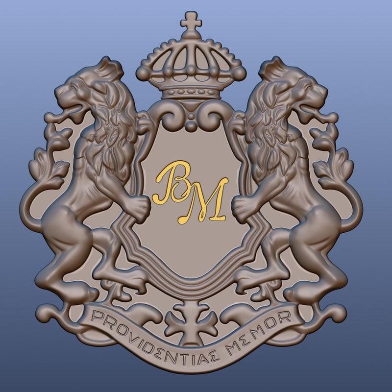 3d heraldic symbol