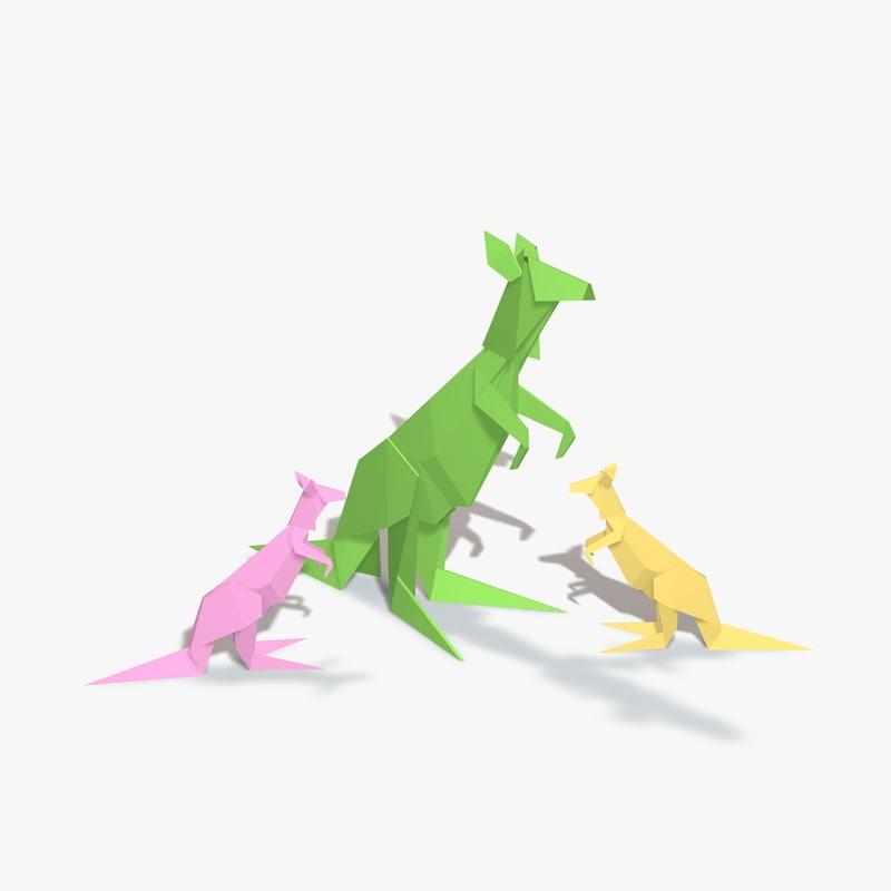 origami kangaroo 3d model