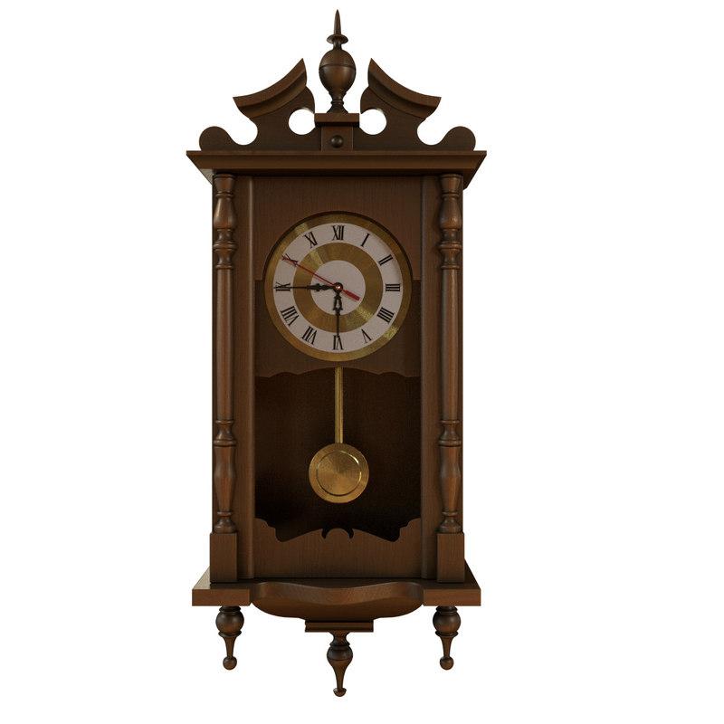 wooden clock wallclock 3d obj
