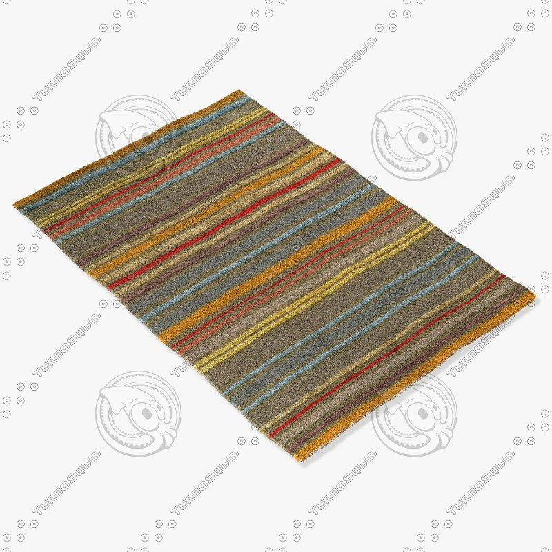 3d model of rizzy home rugs multi-colored
