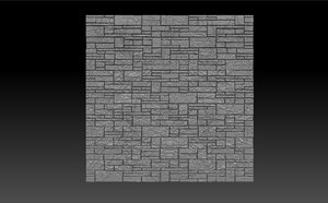 3ds bas-relief stone wall