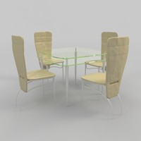 3d model coffee table chairs-5 chairs
