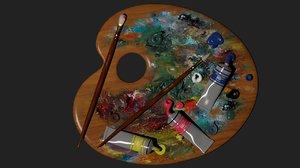artist palette 3d model