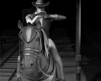 3d obj cowboy horse