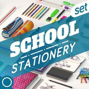 3d school set model