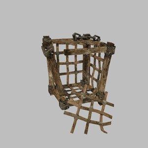 wooden cage 3d obj