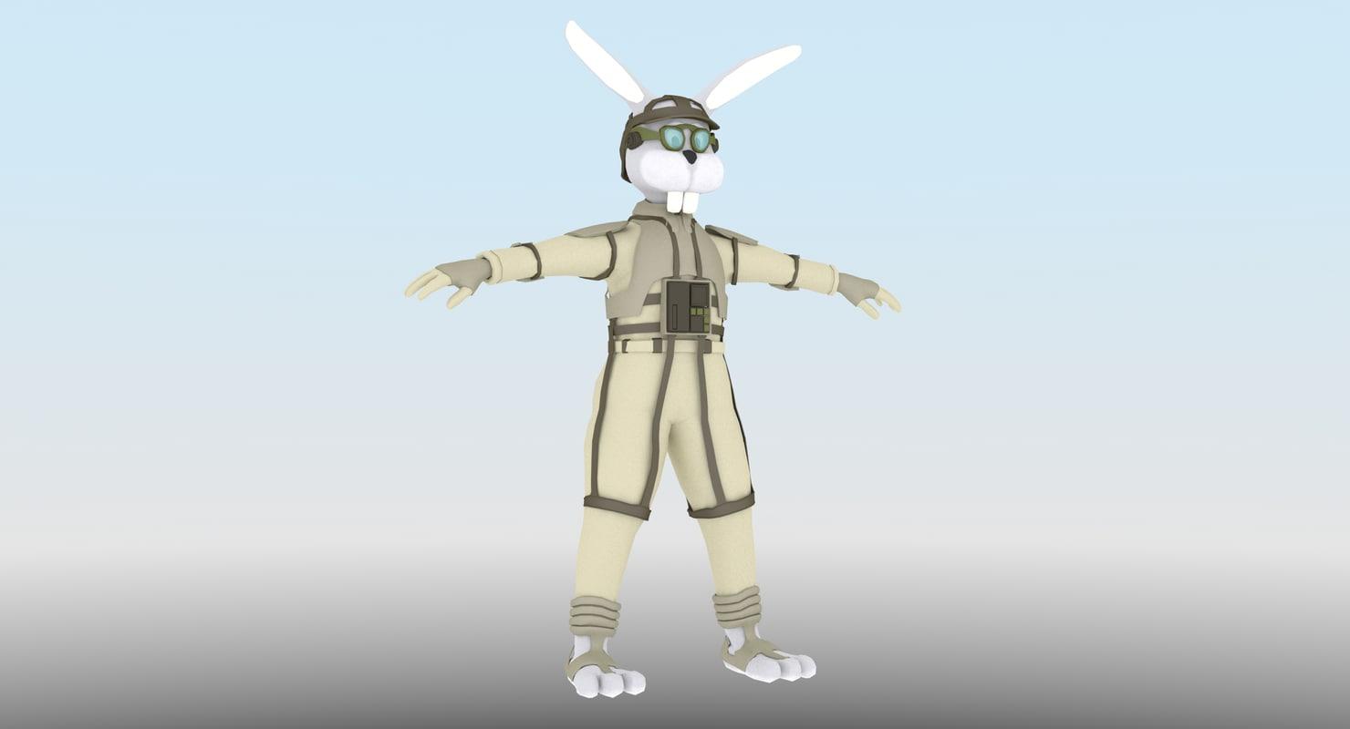 3d bunny pilot standing model