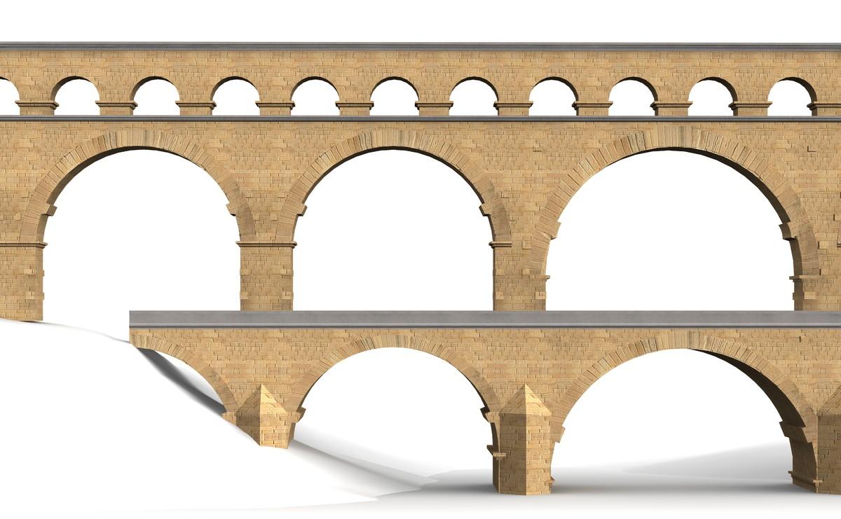 pont du gard bridge 3d model