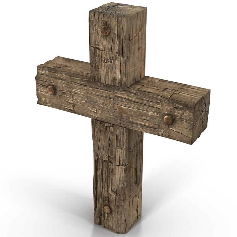 wooden cross weathered 3d max