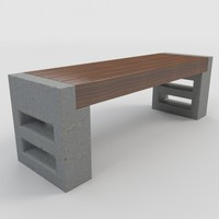 outdoor bench-3 bench 3d max