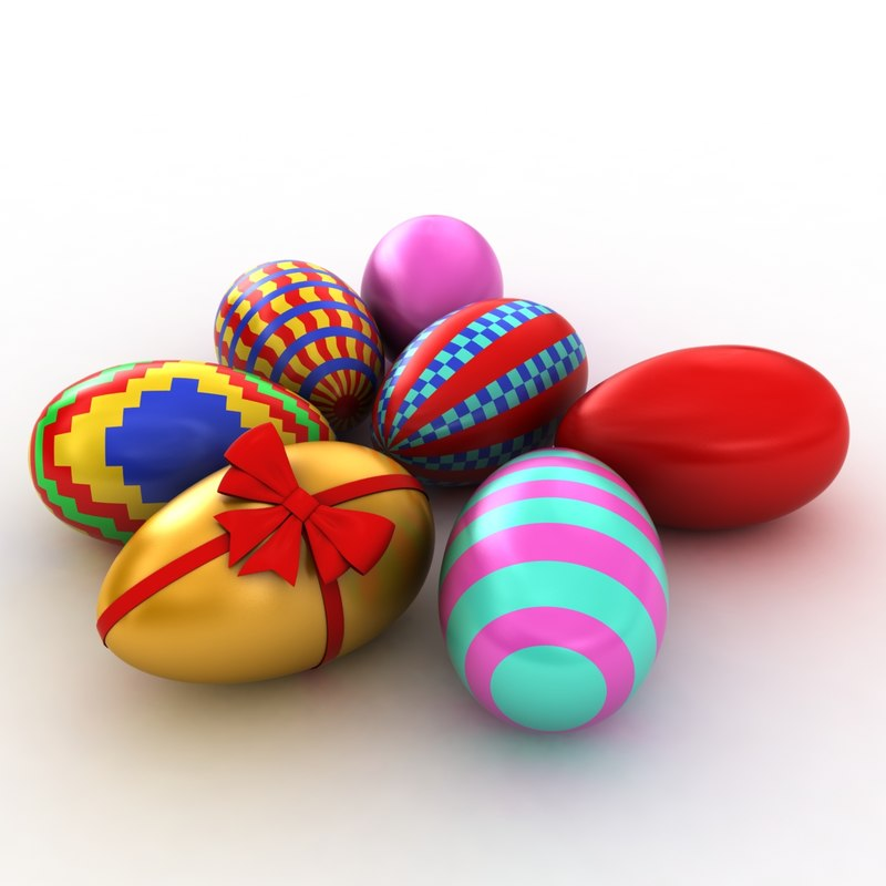 3d model painted easter eggs