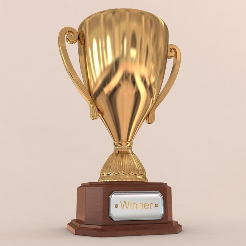 3d golden trophy