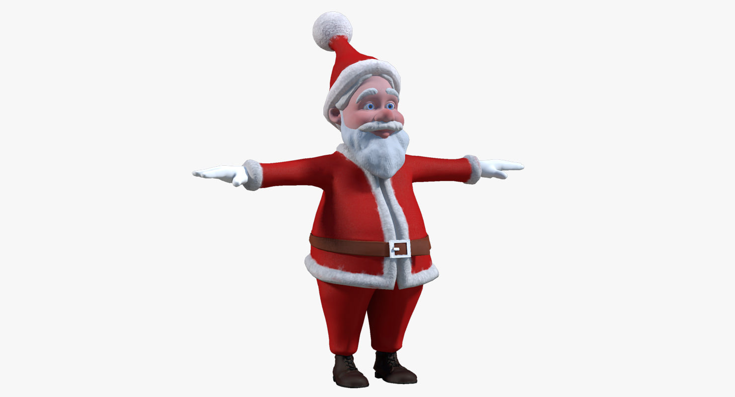 cartoon santa claus character 3d obj