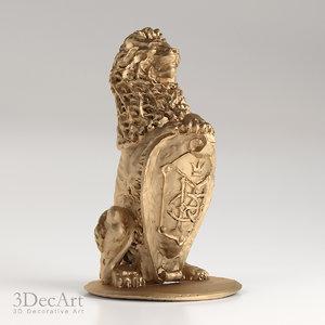 3d lion sculpture model