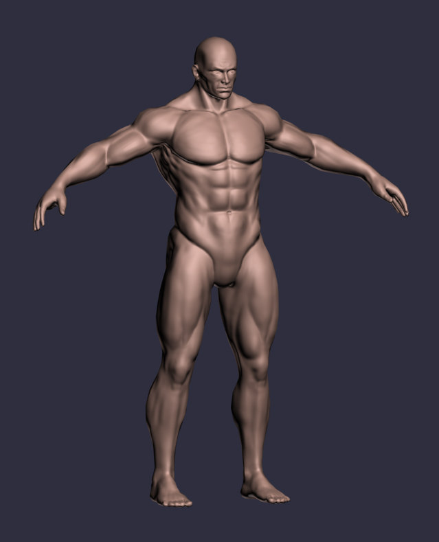 male character a-pose 3d obj