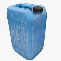 3d plastic dirty jerrycan polys model
