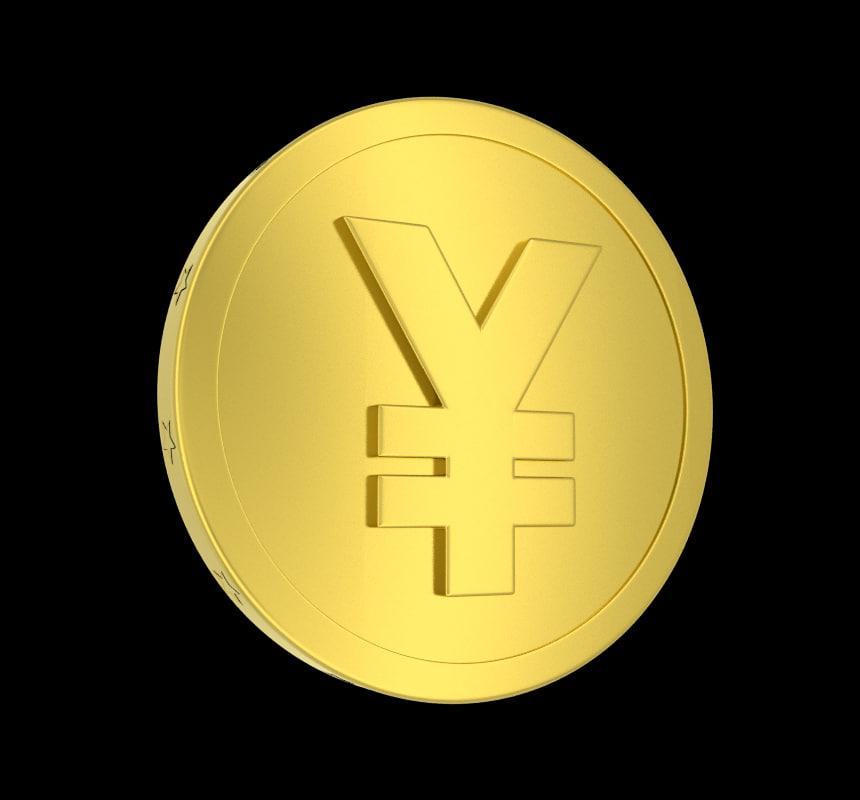 metallic coin yen 3d model