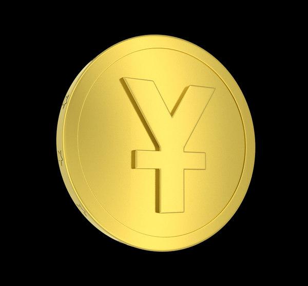 3d model metallic coin yuan