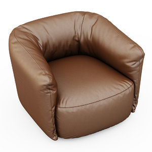 armchair santa monica leather 3d model