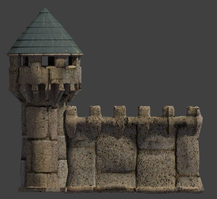 castle stone wall tower 3d model