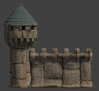 castle stone wall tower 3d model