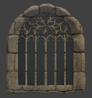3d stone castle window model