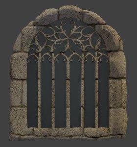3d stone castle window model
