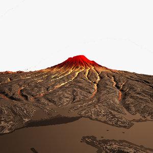 3d erupted volcano scene night