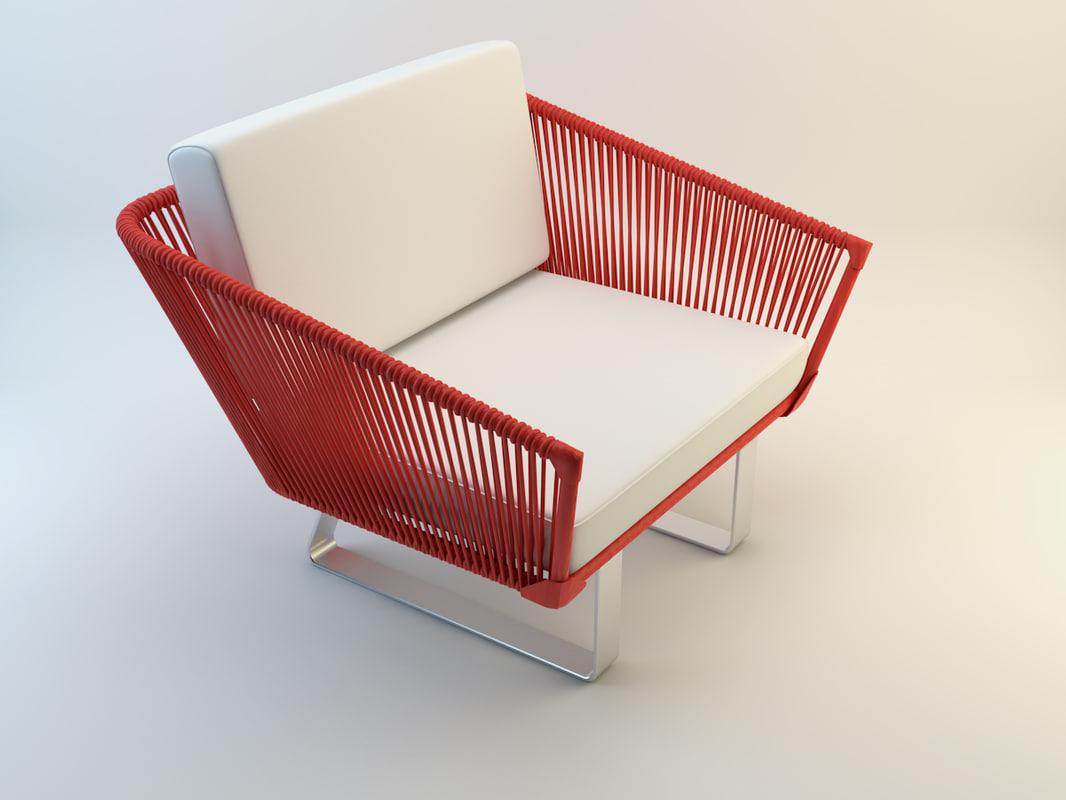 3d armchair tidelli namoradeira marina