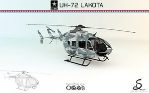 helicopter uh-72 lakota 3d model