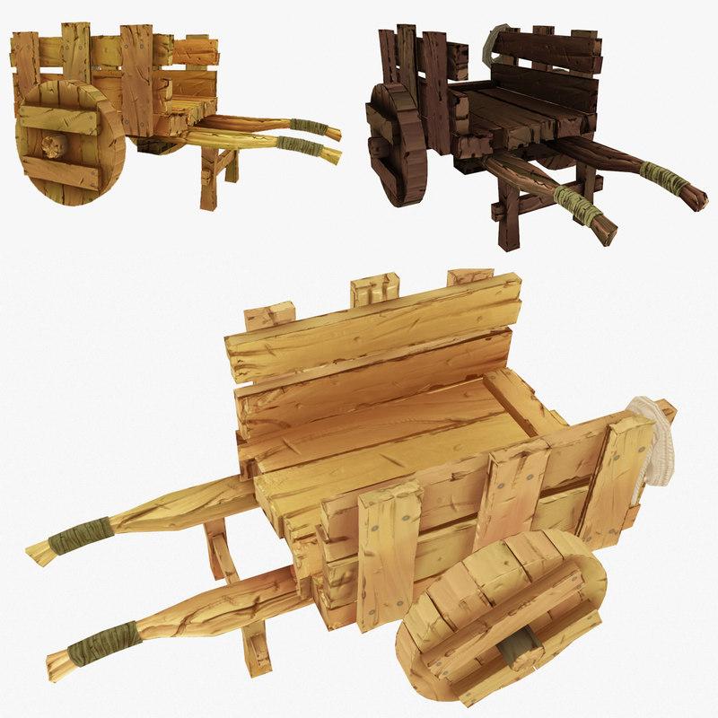 wooden cart wood obj
